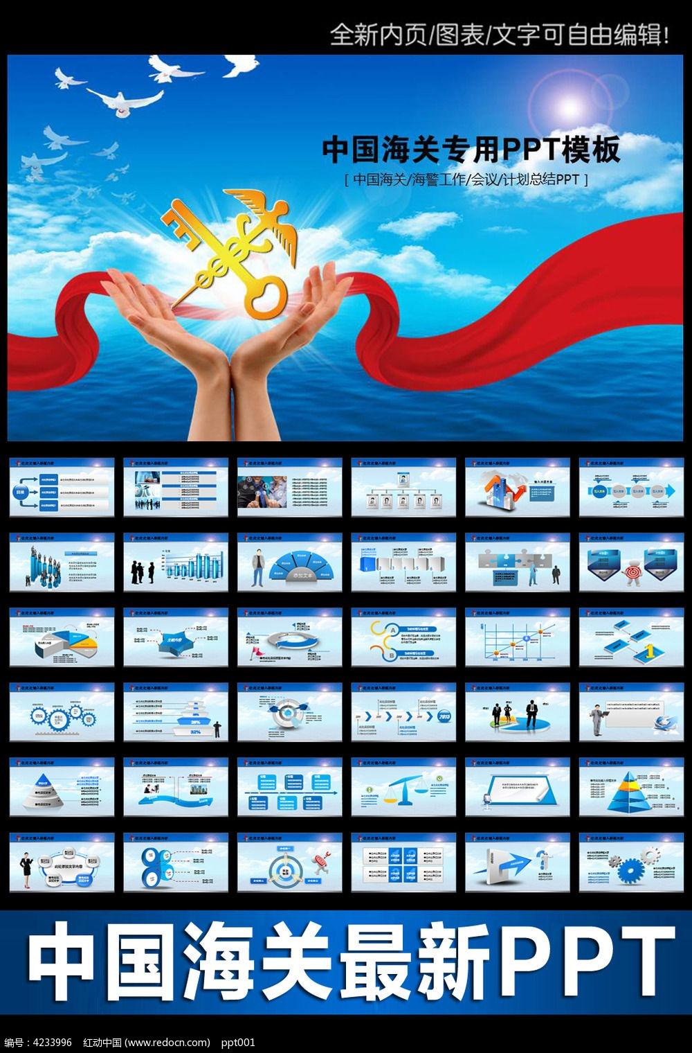 蓝色中国海关ppt模板下载