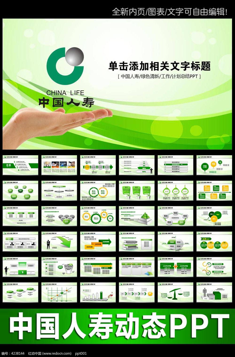 绿中国人寿保险ppt模板图片