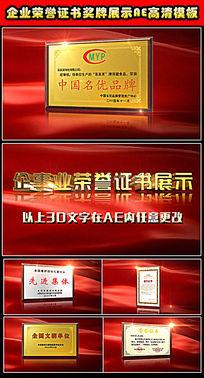 企业荣誉证书奖牌展示视频AE模板