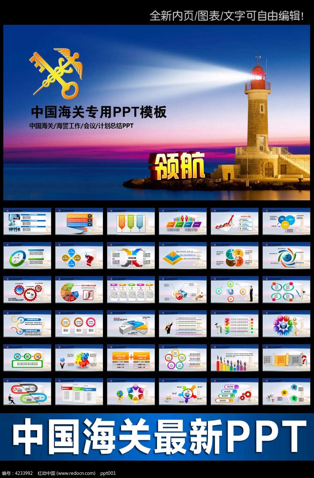 中国海关工作总结动态ppt模板