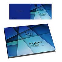 蓝色高档企业画册横版封面设计