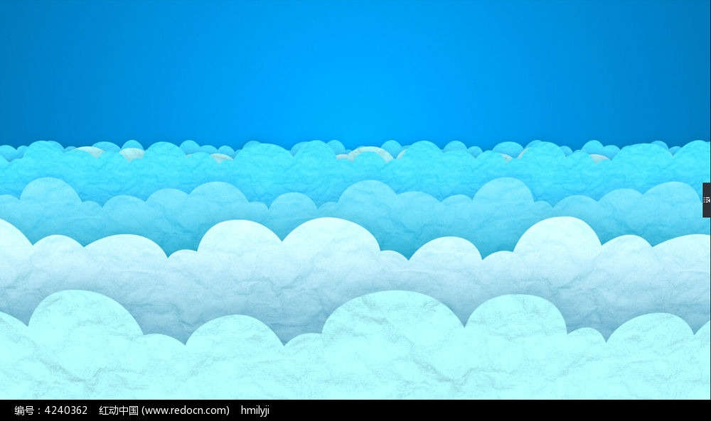 视频背景_蓝色卡通云彩海浪动态视频背景