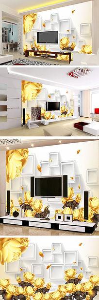 浪漫黄色玫瑰花3D电视背景墙