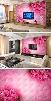 浪漫玫瑰3D电视背景墙