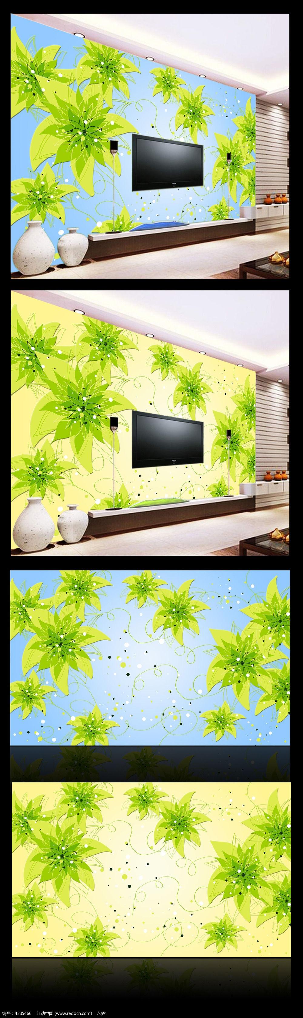 清新花朵沙发背景墙图片