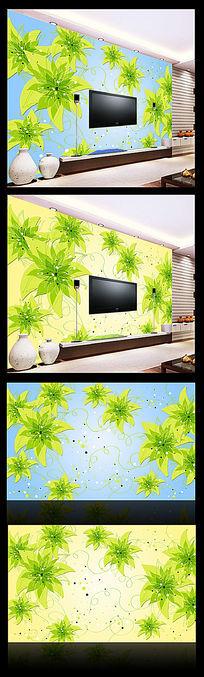 清新花朵沙发背景墙