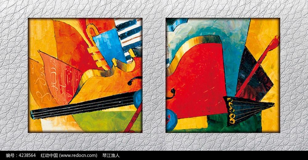 抽象音乐元素油画装饰图图片