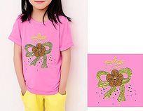 蝴蝶结亮片绣烫钻图案 个性T恤图案