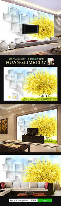 立体黄色树电视背景墙