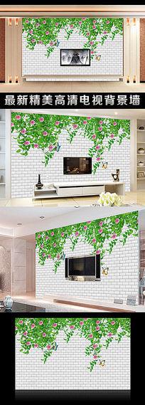 绿叶藤蔓立体简约电视背景墙