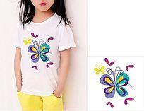 矢量蝴蝶烫画图案 T恤印花图案设计