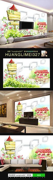 时尚梦幻房屋花朵电视背景墙