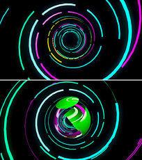彩色旋转圆球logo展示ae模板