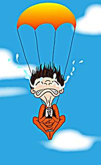 普通人跳伞会祈祷吓得痛哭流涕插画