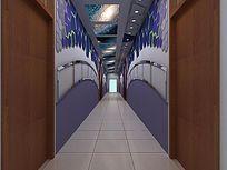以物理为主题的校园过道文化走廊3d模型设计