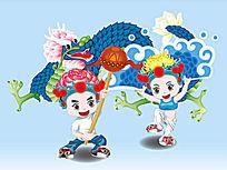 中国风牡丹哥哥菊花妹妹舞龙矢量图