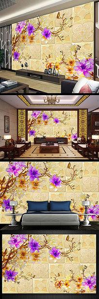 中式玉兰彩雕电视背景墙模板