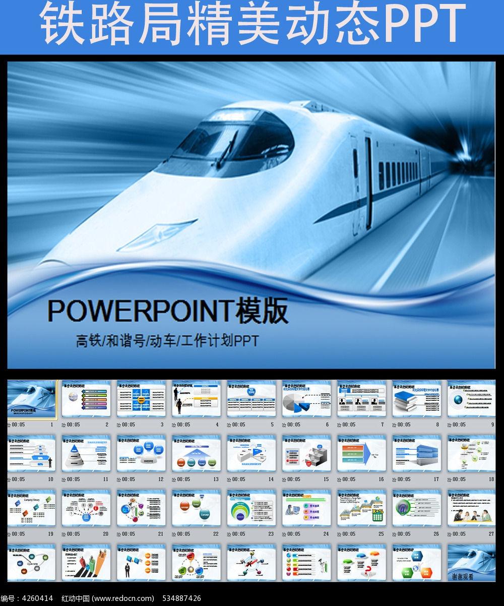 动车高铁铁路发展动态幻灯片ppt模板