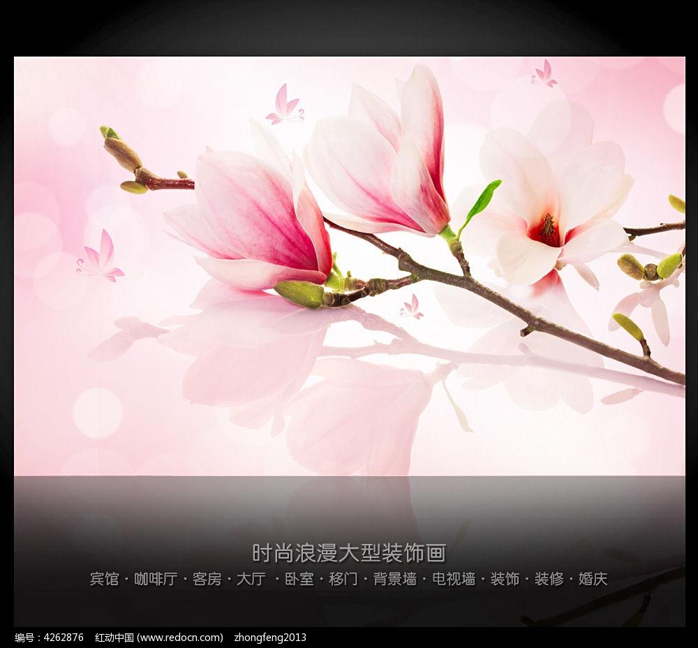 清新手绘花朵电视背景墙