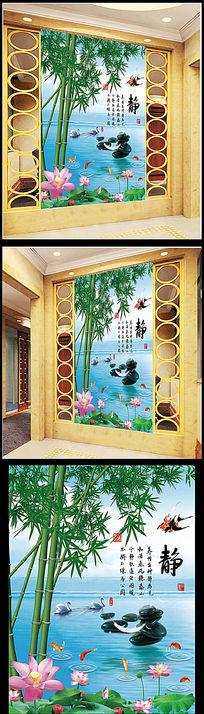 水中竹子玄关装饰图