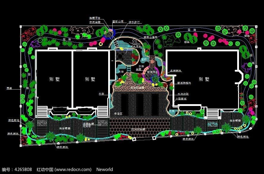 别墅庭院私家花园景观设计cad平面图