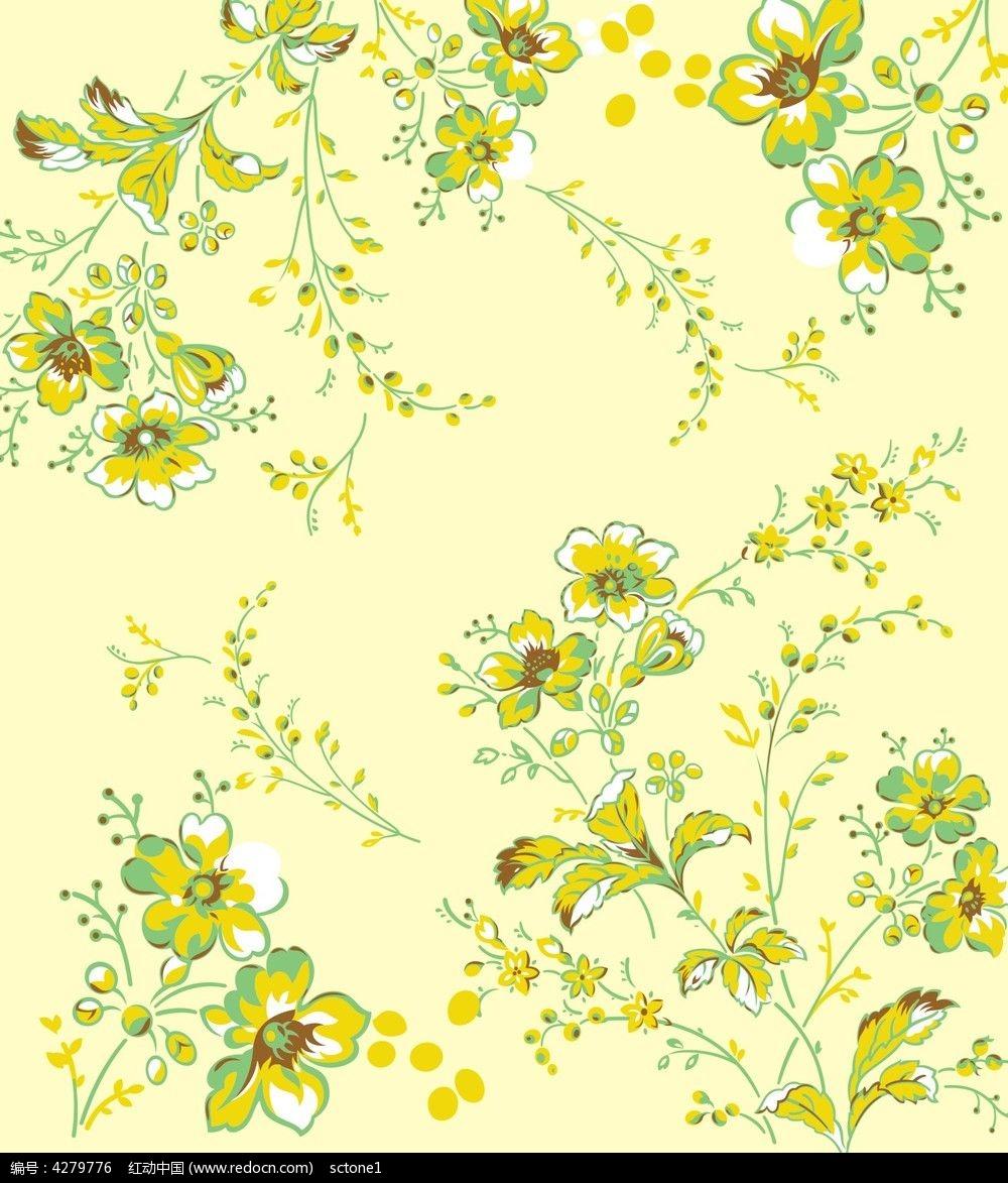 黄色布匹小碎花图案_卡通图片/插画图片素材