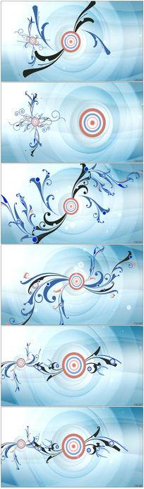 蓝色花纹生长背景视频