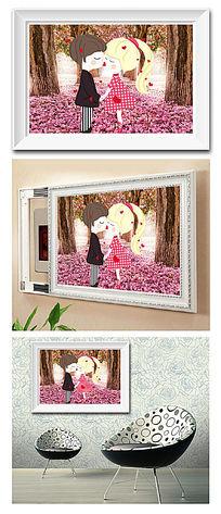 樱花树下亲吻电表箱装饰画