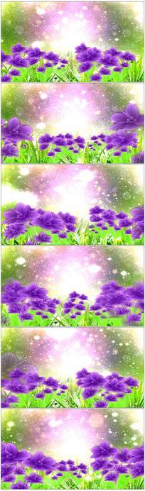 紫色水彩花粒子飞舞led背景视频