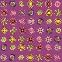 紫色圆形小花印花图案
