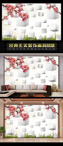 10款 花开富贵手绘电视背景墙