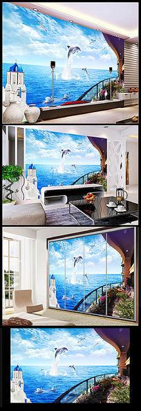 爱琴海阳台风景电视背景墙