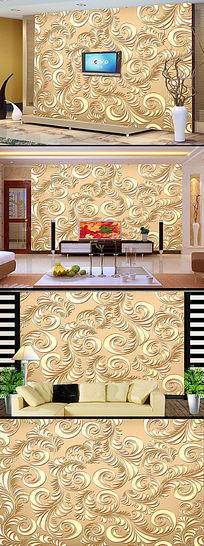 传统浮雕花纹电视背景墙