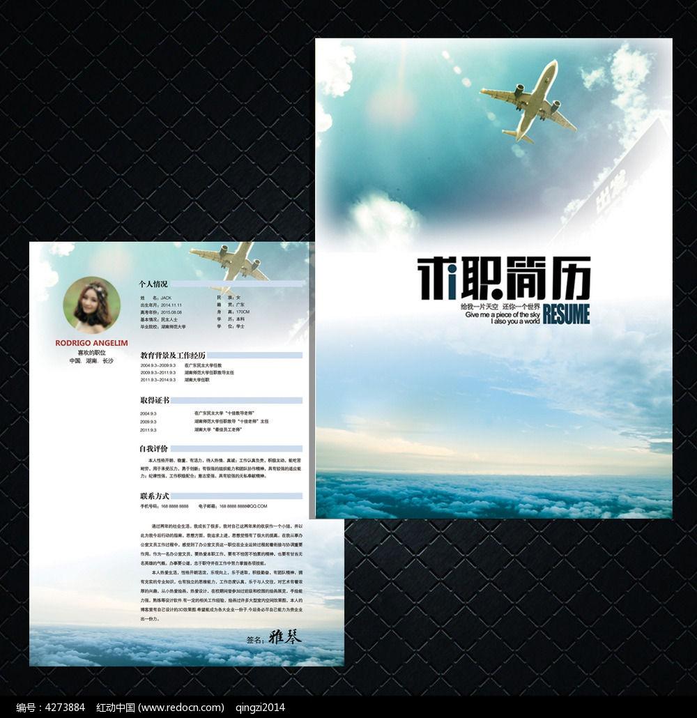 原创设计稿 海报设计/宣传单/广告牌 求职简历 航空专业个人简历模板图片