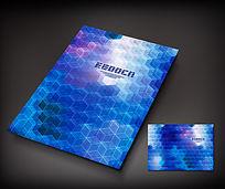 蓝色几何电子画册封面设计