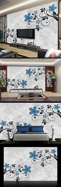 清新花纹花朵电视背景墙