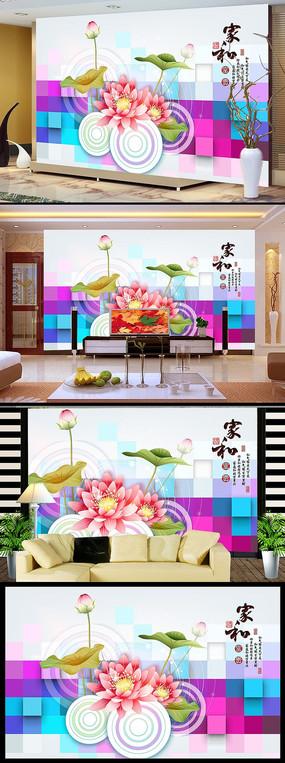 艺术荷花电视背景墙模板