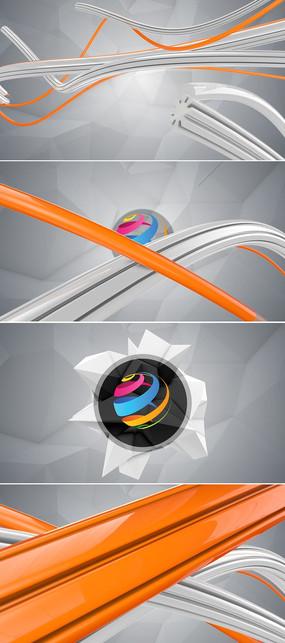 3d彩色线条logo演绎ae模板
