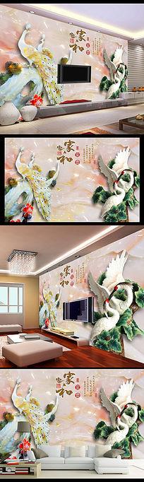 15款 浮雕家和富贵墙画电视背景墙