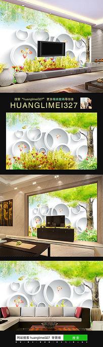 梦幻绿树3D圆圈电视背景墙