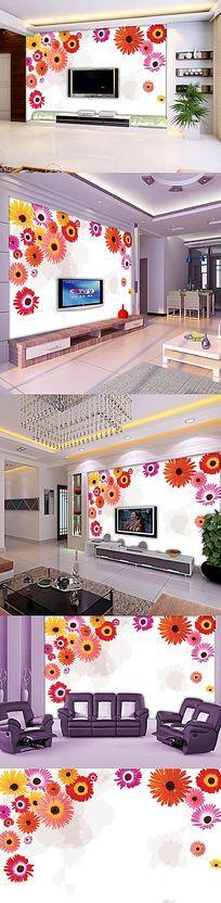 水彩花朵电视背景墙设计psd素材下载