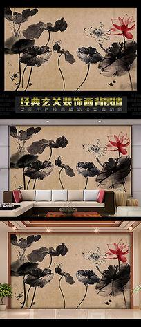 中国古典水墨荷花书房背景墙