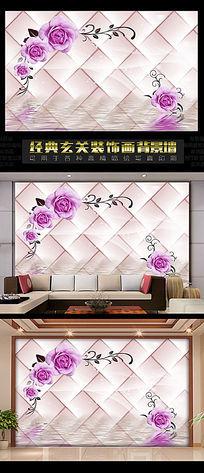 3D立体倒影紫色玫瑰电视背景墙