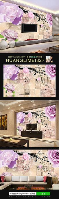 浪漫紫色玫瑰花电视背景墙