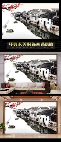 中国风水墨江南电视背景墙
