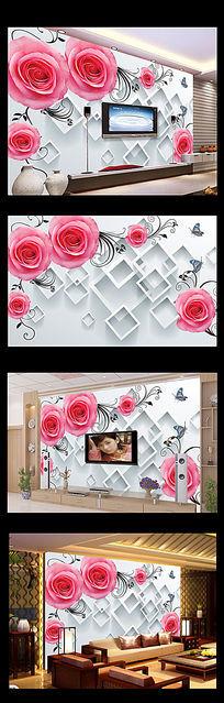 3D方框玫瑰花朵电视背景墙