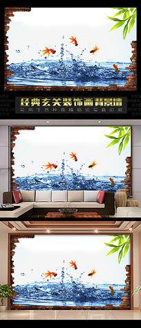3D立体飞鱼卧室背景墙