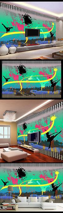 KTV酒吧动感涂鸦电视背景墙