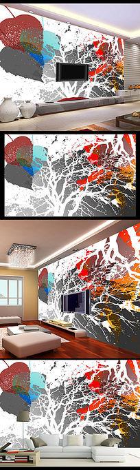 大型艺术抽象涂鸦客厅背景墙 PSD