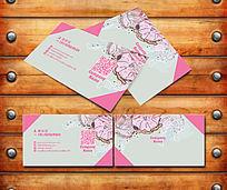 粉色花店名片模板